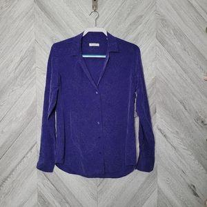 Equipment Adalyn Biro Blue Printed Silk Long Sleev